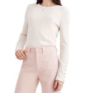 Madewell Button Sleeve Ivory Ribbed Knit Blouse